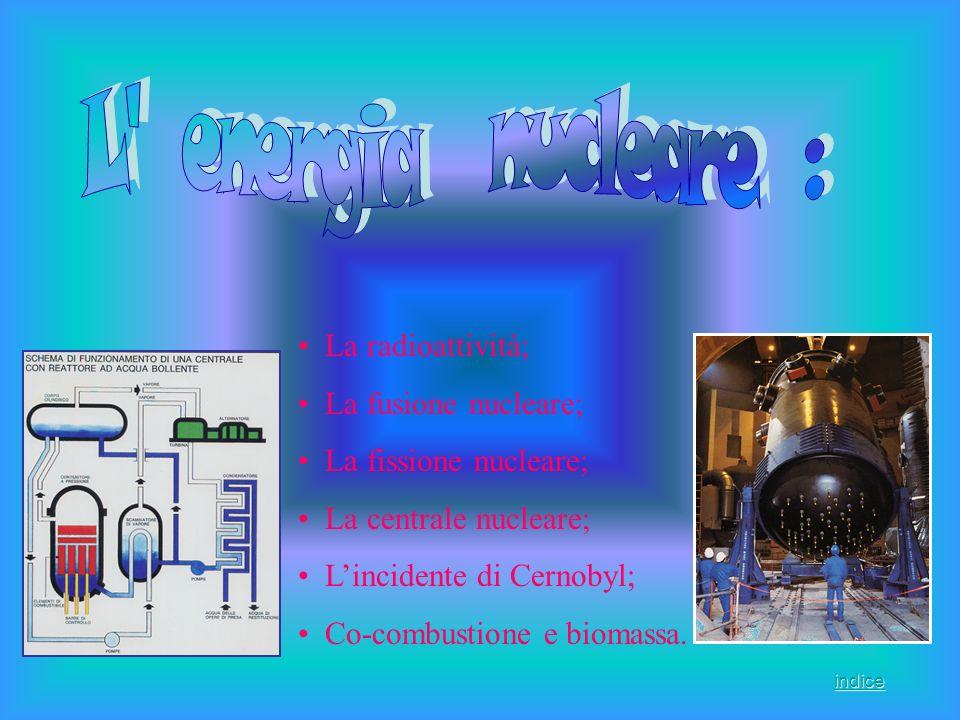 La radioattività; La fusione nucleare; La fissione nucleare; La centrale nucleare; Lincidente di Cernobyl; Co-combustione e biomassa. indice