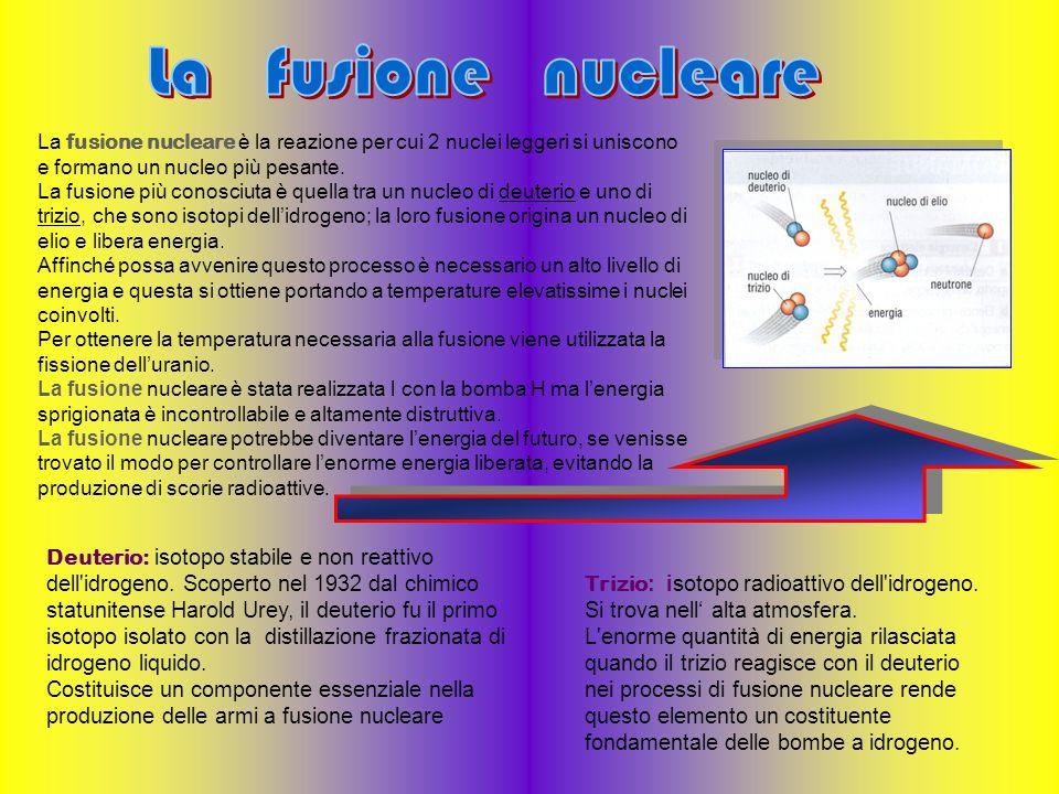 La fusione nucleare è la reazione per cui 2 nuclei leggeri si uniscono e formano un nucleo più pesante. La fusione più conosciuta è quella tra un nucl
