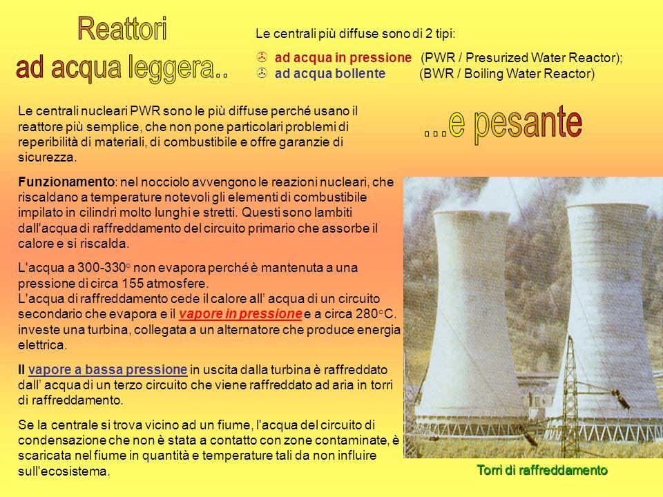 Torri di raffreddamento Le centrali nucleari PWR sono le più diffuse perché usano il reattore più semplice, che non pone particolari problemi di reper