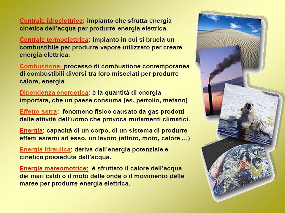 Centrale idroelettrica: impianto che sfrutta energia cinetica dellacqua per produrre energia elettrica. Centrale termoelettrica: impianto in cui si br