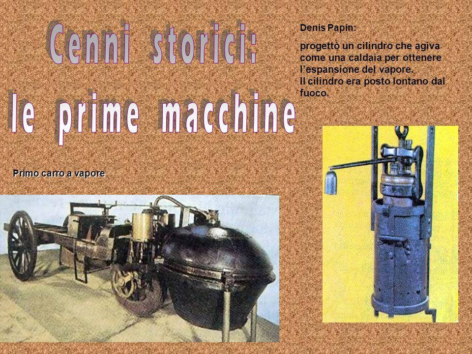 Denis Papin: progettò un cilindro che agiva come una caldaia per ottenere lespansione del vapore. Il cilindro era posto lontano dal fuoco. Primo carro