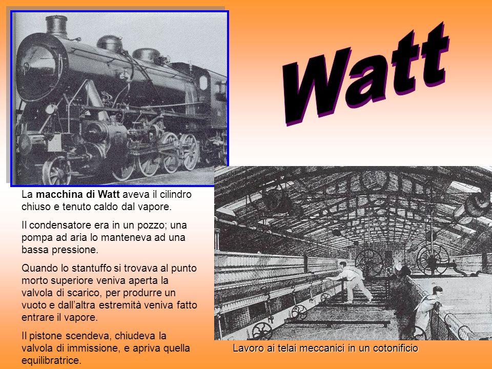 La macchina di Watt aveva il cilindro chiuso e tenuto caldo dal vapore. Il condensatore era in un pozzo; una pompa ad aria lo manteneva ad una bassa p