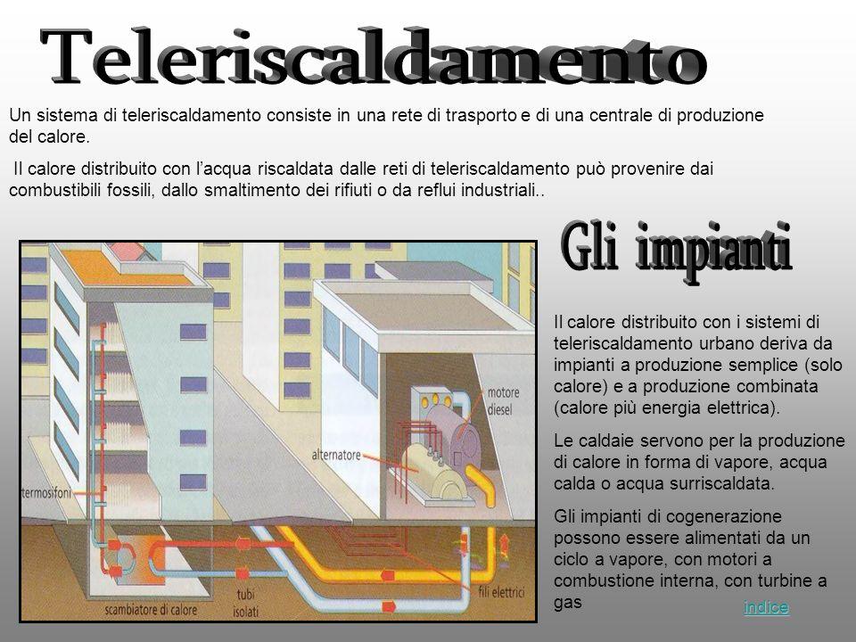 Un sistema di teleriscaldamento consiste in una rete di trasporto e di una centrale di produzione del calore. Il calore distribuito con lacqua riscald