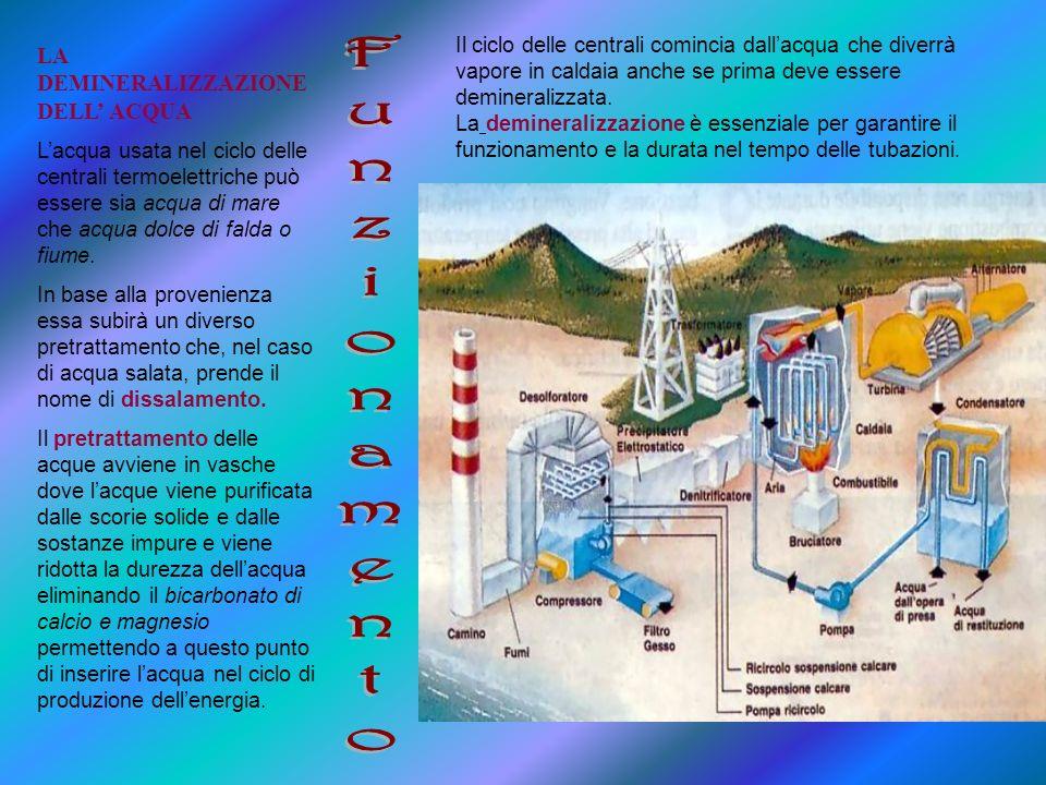 LA DEMINERALIZZAZIONE DELL ACQUA Lacqua usata nel ciclo delle centrali termoelettriche può essere sia acqua di mare che acqua dolce di falda o fiume.
