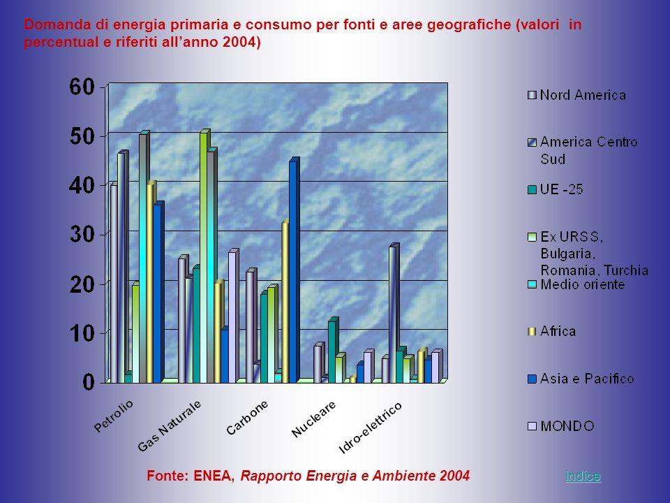 Fonte: ENEA, Rapporto Energia e Ambiente 2004 Domanda di energia primaria e consumo per fonti e aree geografiche (valori in percentual e riferiti alla