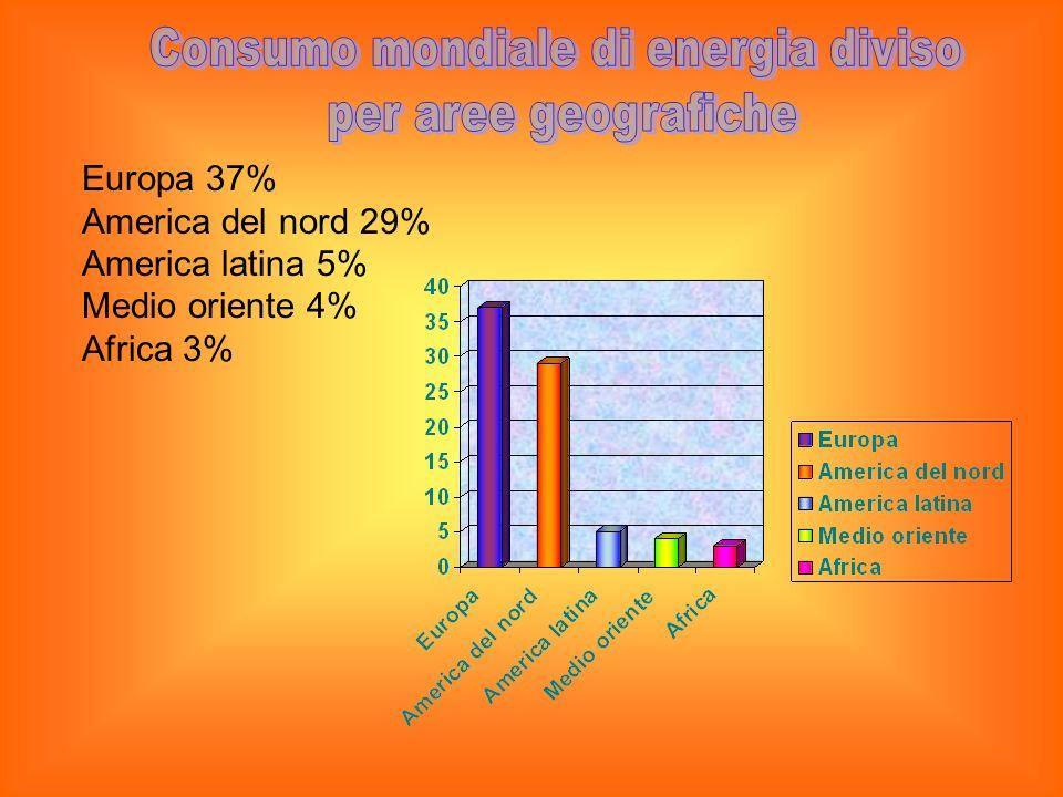 Europa 37% America del nord 29% America latina 5% Medio oriente 4% Africa 3%