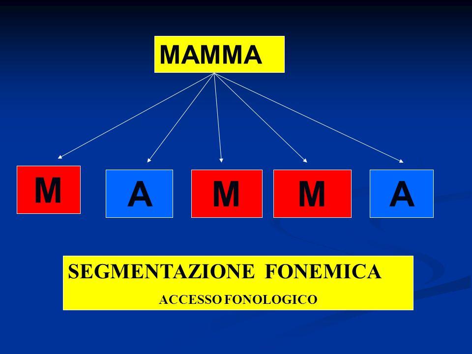 MAMMA M AMMA SEGMENTAZIONE FONEMICA ACCESSO FONOLOGICO