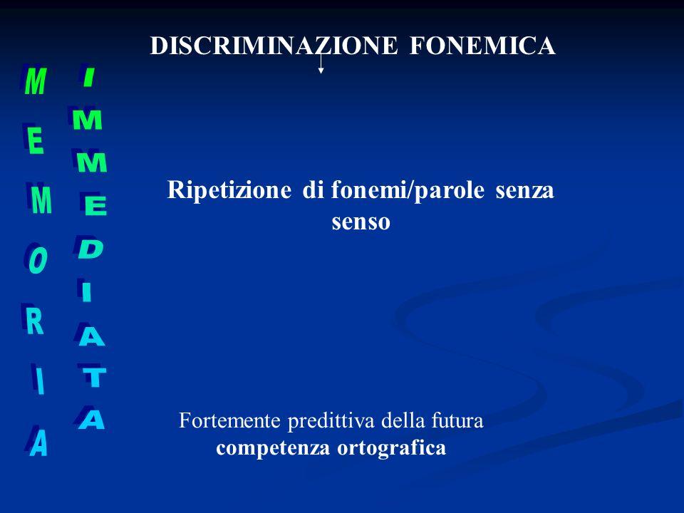 DISCRIMINAZIONE FONEMICA Ripetizione di fonemi/parole senza senso Fortemente predittiva della futura competenza ortografica