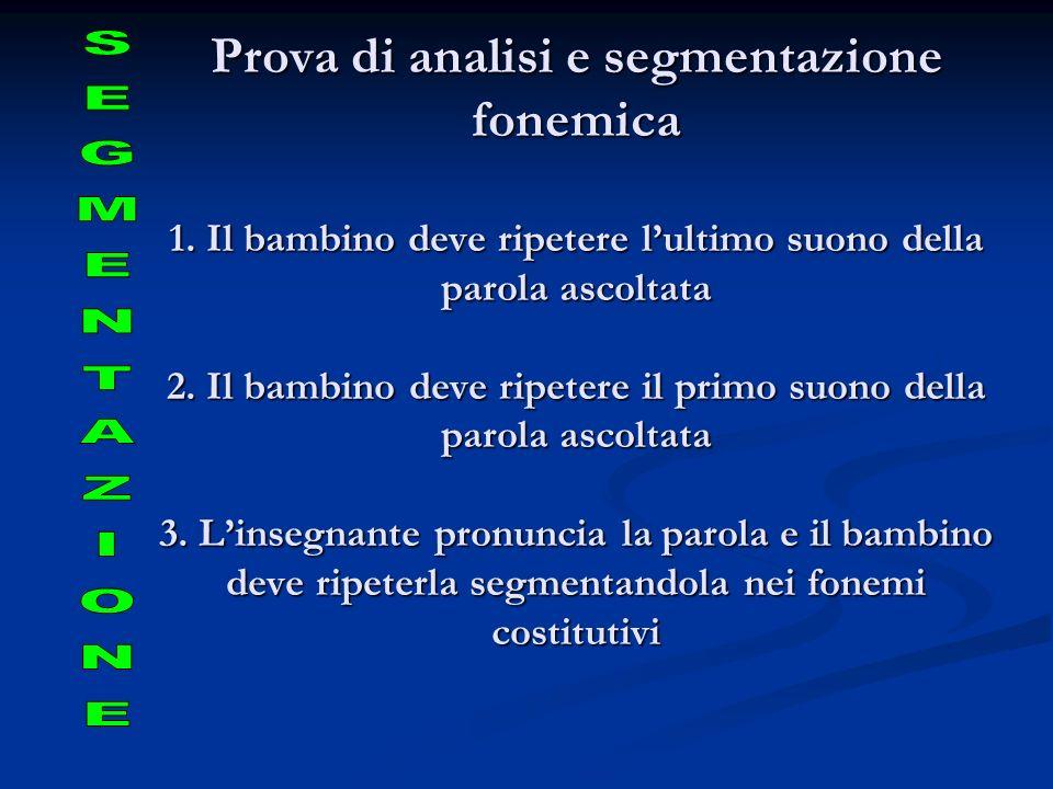Prova di analisi e segmentazione fonemica 1. Il bambino deve ripetere lultimo suono della parola ascoltata 2. Il bambino deve ripetere il primo suono