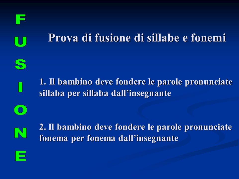 Prova di fusione di sillabe e fonemi 1. Il bambino deve fondere le parole pronunciate sillaba per sillaba dallinsegnante 2. Il bambino deve fondere le