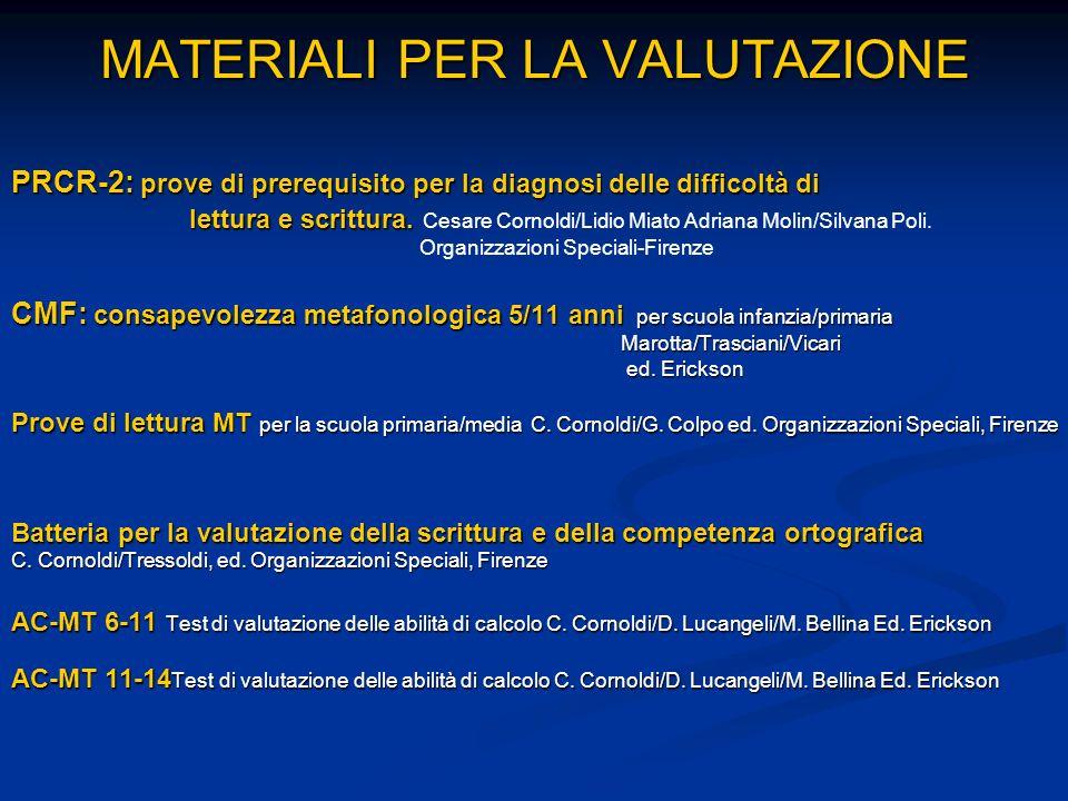 MATERIALI PER LA VALUTAZIONE PRCR-2: prove di prerequisito per la diagnosi delle difficoltà di lettura e scrittura. lettura e scrittura. Cesare Cornol