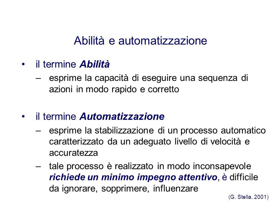 il termine Abilità –esprime la capacità di eseguire una sequenza di azioni in modo rapido e corretto il termine Automatizzazione –esprime la stabilizz