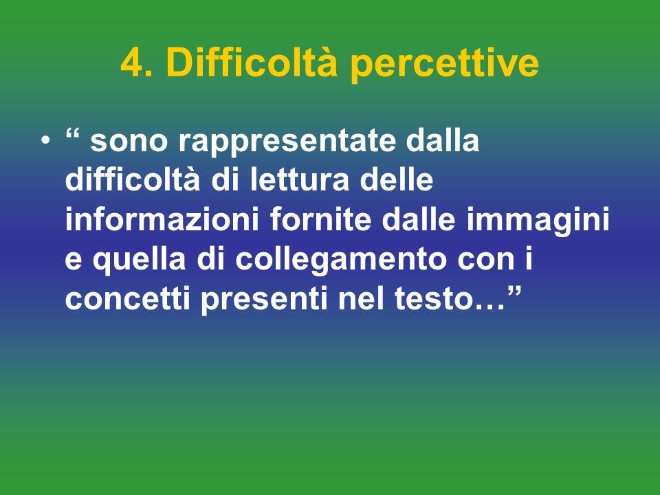 4. Difficoltà percettive sono rappresentate dalla difficoltà di lettura delle informazioni fornite dalle immagini e quella di collegamento con i conce