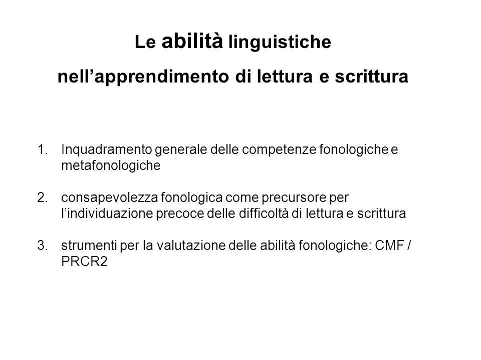 1.Inquadramento generale delle competenze fonologiche e metafonologiche 2.consapevolezza fonologica come precursore per lindividuazione precoce delle