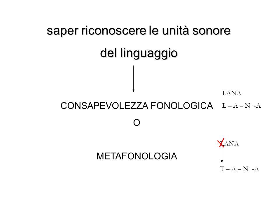 saper riconoscere le unità sonore del linguaggio CONSAPEVOLEZZA FONOLOGICA O METAFONOLOGIA LANA L – A – N -A LANA T – A – N -A