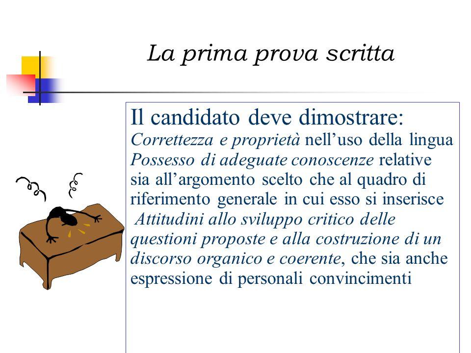 Il candidato deve dimostrare: Correttezza e proprietà nelluso della lingua Possesso di adeguate conoscenze relative sia allargomento scelto che al qua