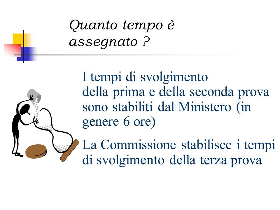Quanto tempo è assegnato ? I tempi di svolgimento della prima e della seconda prova sono stabiliti dal Ministero (in genere 6 ore) La Commissione stab