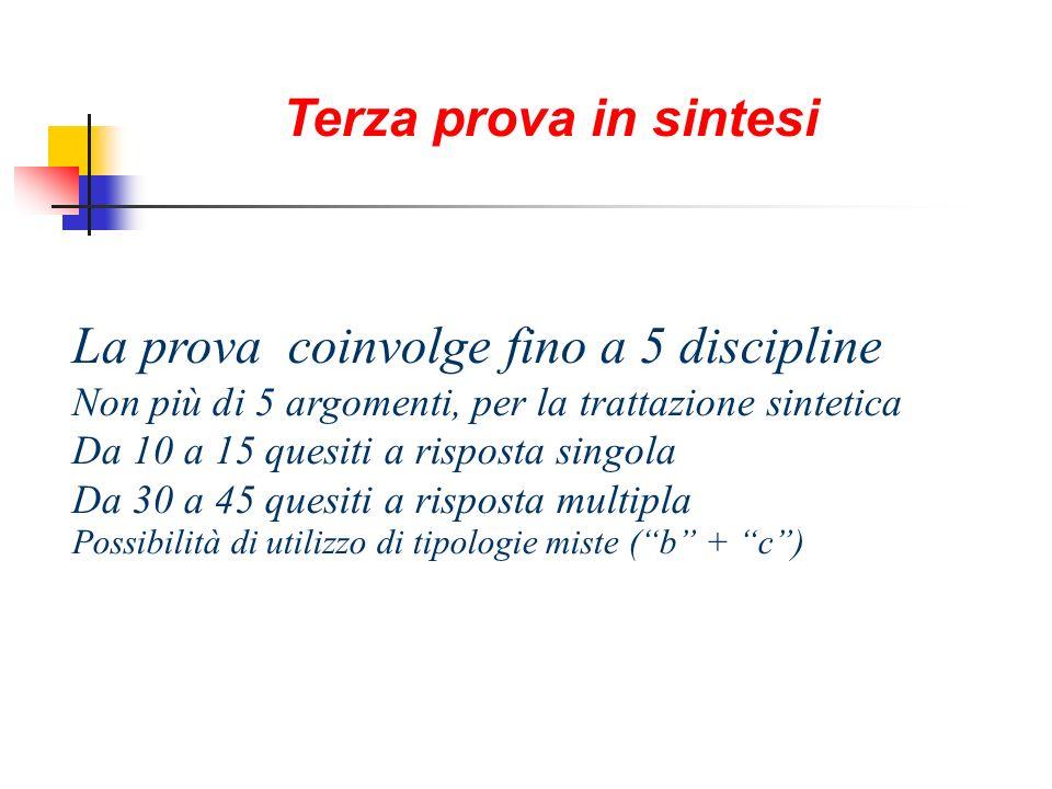 La prova coinvolge fino a 5 discipline Non più di 5 argomenti, per la trattazione sintetica Da 10 a 15 quesiti a risposta singola Da 30 a 45 quesiti a
