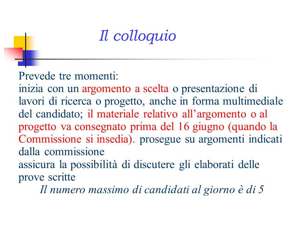 Prevede tre momenti: inizia con un argomento a scelta o presentazione di lavori di ricerca o progetto, anche in forma multimediale del candidato; il m