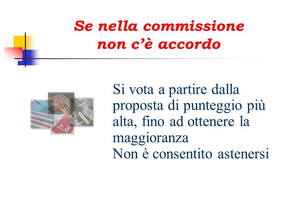 Si vota a partire dalla proposta di punteggio più alta, fino ad ottenere la maggioranza Non è consentito astenersi Se nella commissione non cè accordo