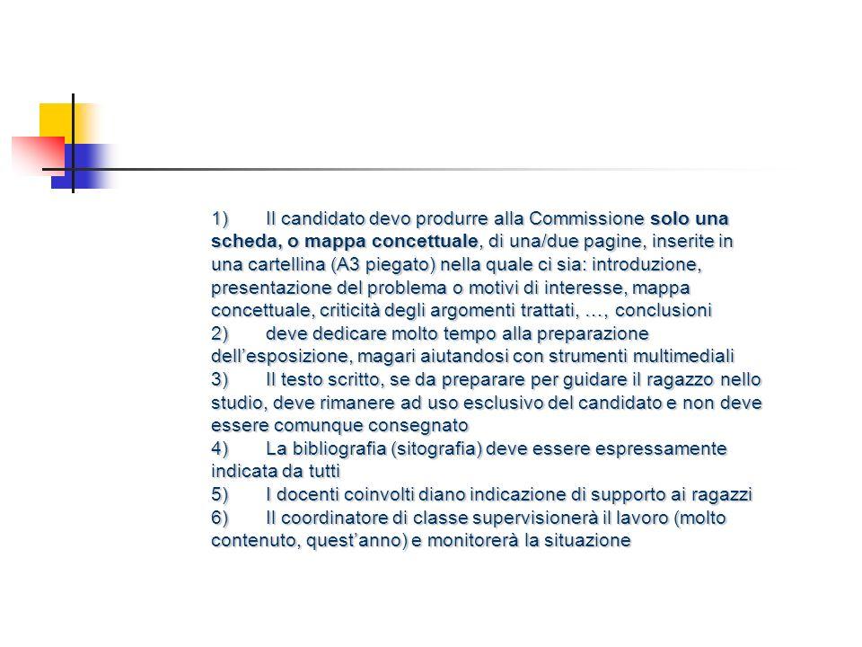 1) Il candidato devo produrre alla Commissione solo una scheda, o mappa concettuale, di una/due pagine, inserite in una cartellina (A3 piegato) nella