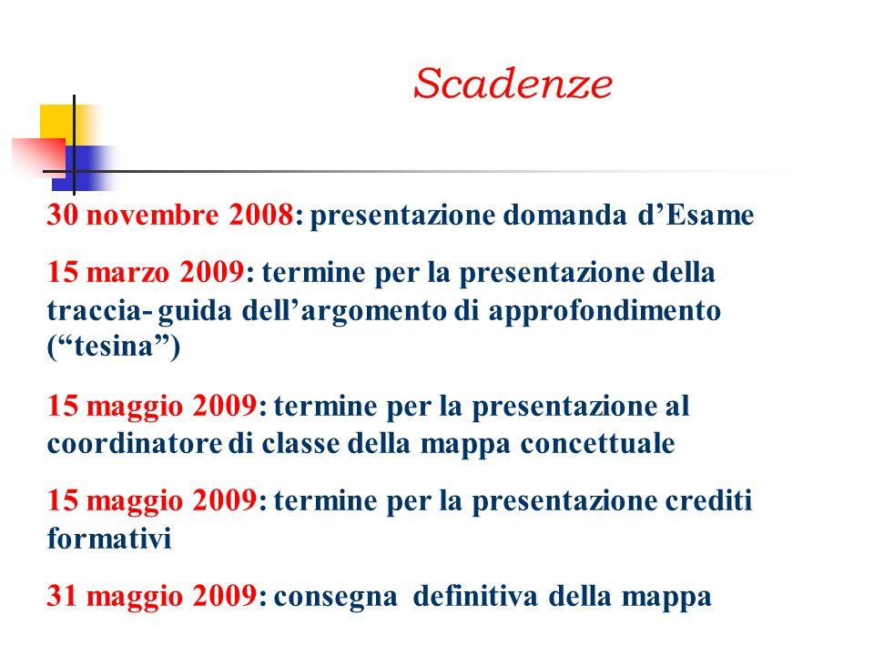 Scadenze 30 novembre 2008: presentazione domanda dEsame 15 marzo 2009: termine per la presentazione della traccia- guida dellargomento di approfondime