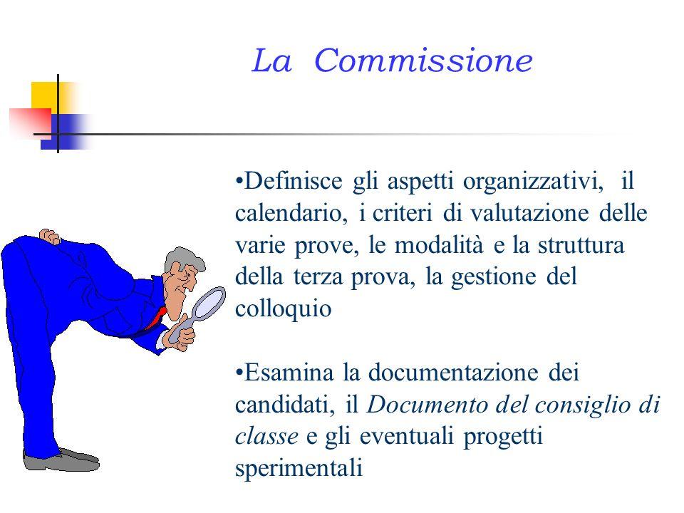 Definisce gli aspetti organizzativi, il calendario, i criteri di valutazione delle varie prove, le modalità e la struttura della terza prova, la gesti