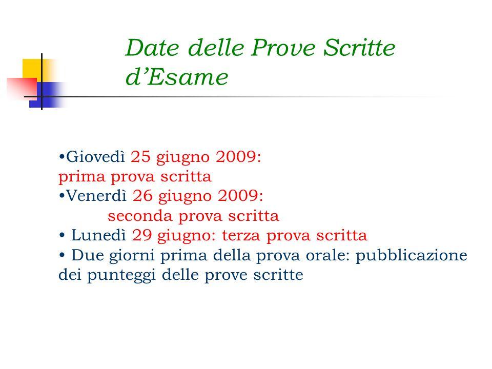 Date delle Prove Scritte dEsame Giovedì 25 giugno 2009: prima prova scritta Venerdì 26 giugno 2009: seconda prova scritta Lunedì 29 giugno: terza prov