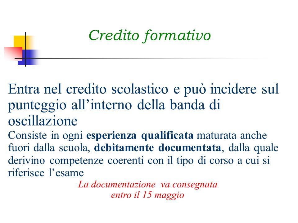 Credito formativo Entra nel credito scolastico e può incidere sul punteggio allinterno della banda di oscillazione Consiste in ogni esperienza qualifi
