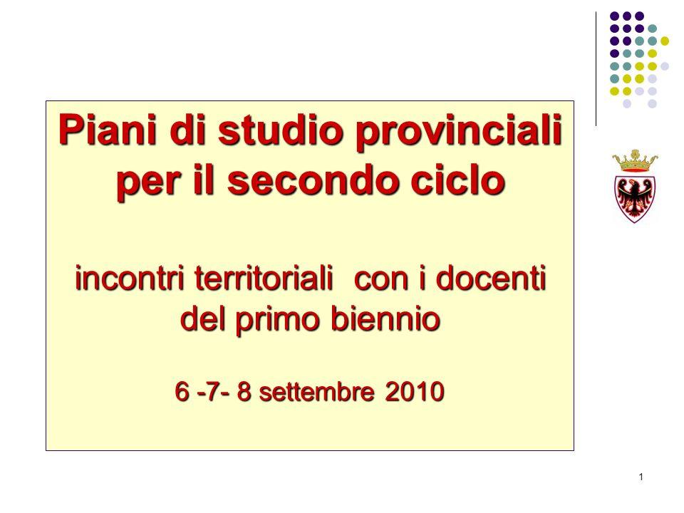 1 Piani di studio provinciali per il secondo ciclo incontri territoriali con i docenti del primo biennio 6 -7- 8 settembre 2010