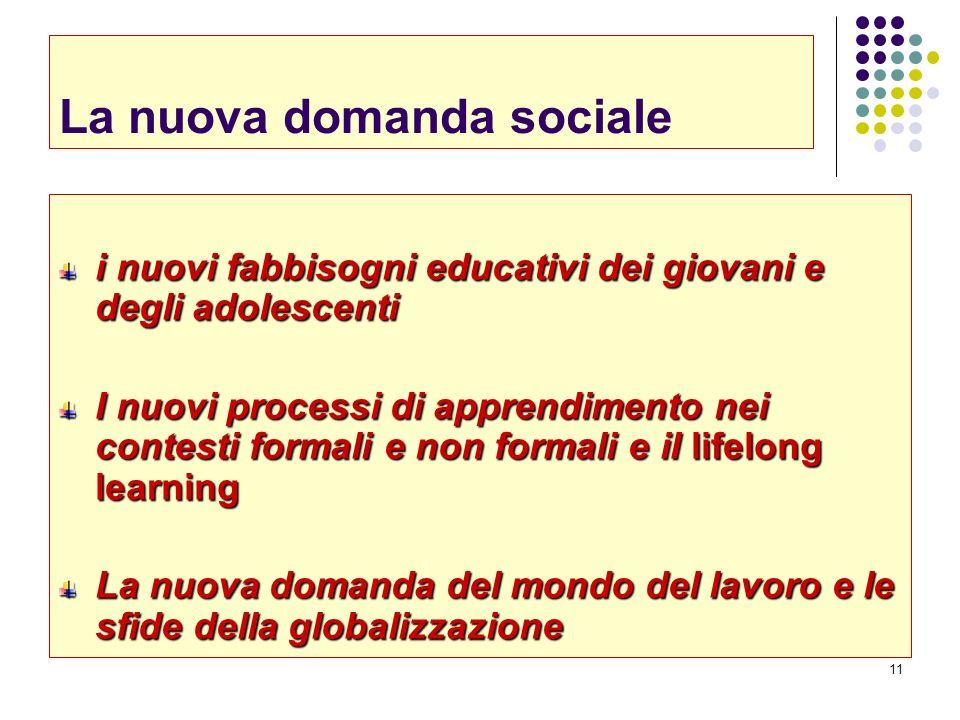 11 La nuova domanda sociale i nuovi fabbisogni educativi dei giovani e degli adolescenti I nuovi processi di apprendimento nei contesti formali e non