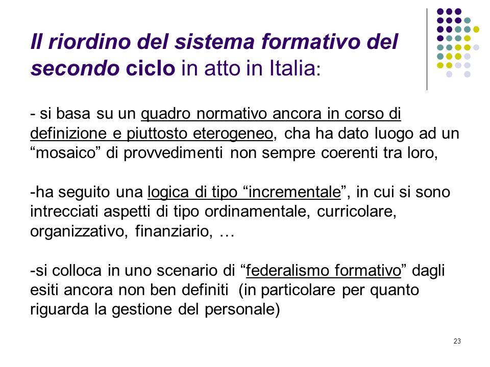 23 Il riordino del sistema formativo del secondo ciclo in atto in Italia : - si basa su un quadro normativo ancora in corso di definizione e piuttosto