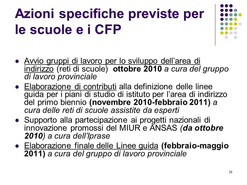 34 Azioni specifiche previste per le scuole e i CFP Avvio gruppi di lavoro per lo sviluppo dellarea di indirizzo (reti di scuole) ottobre 2010 a cura