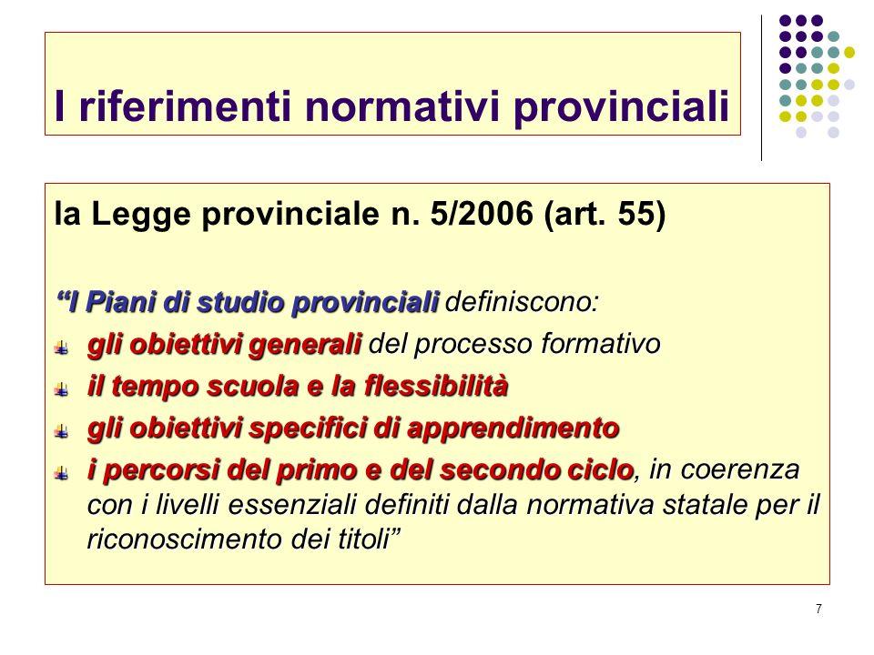 7 I riferimenti normativi provinciali la Legge provinciale n. 5/2006 (art. 55) I Piani di studio provinciali definiscono: gli obiettivi generali del p