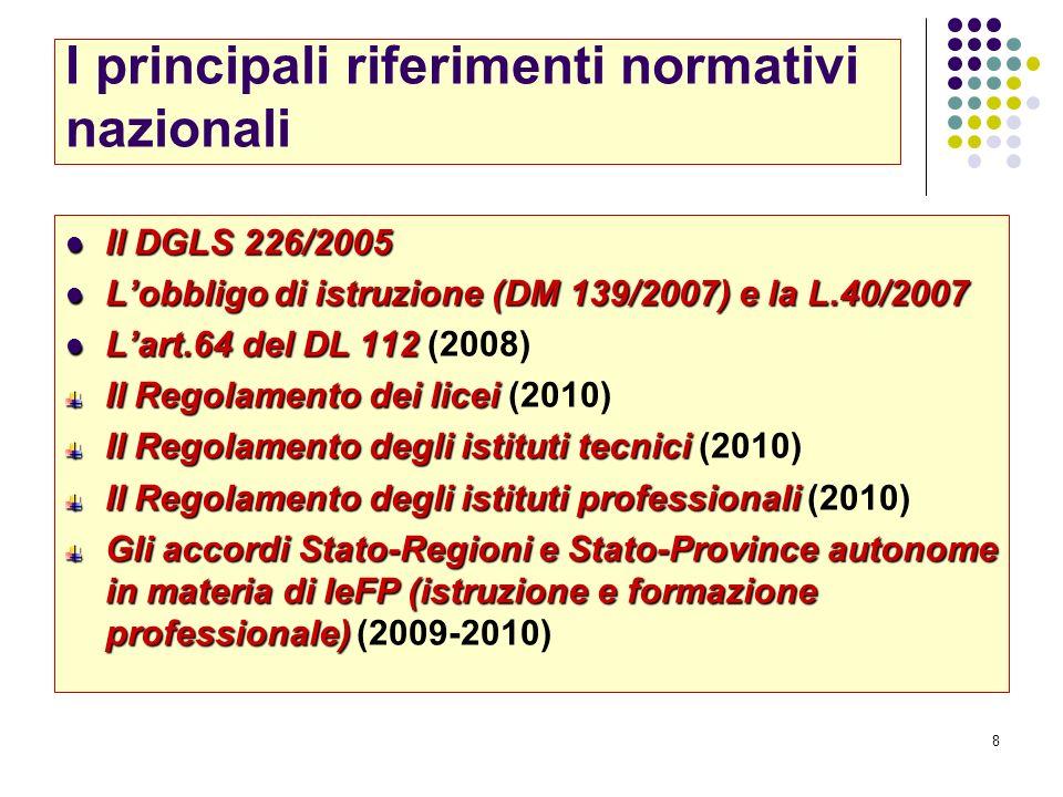 8 I principali riferimenti normativi nazionali Il DGLS 226/2005 Il DGLS 226/2005 Lobbligo di istruzione (DM 139/2007) e la L.40/2007 Lobbligo di istru