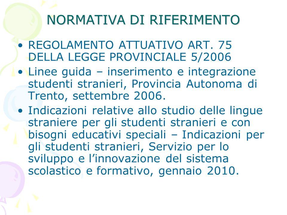 NORMATIVA DI RIFERIMENTO REGOLAMENTO ATTUATIVO ART. 75 DELLA LEGGE PROVINCIALE 5/2006 Linee guida – inserimento e integrazione studenti stranieri, Pro