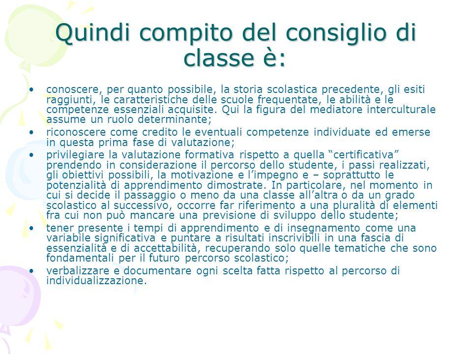 Quindi compito del consiglio di classe è: conoscere, per quanto possibile, la storia scolastica precedente, gli esiti raggiunti, le caratteristiche de