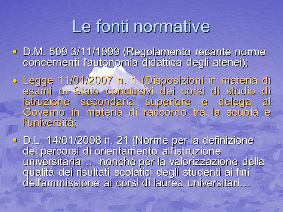 Le fonti normative D.M. 509 3/11/1999 (Regolamento recante norme concernenti l'autonomia didattica degli atenei); D.M. 509 3/11/1999 (Regolamento reca