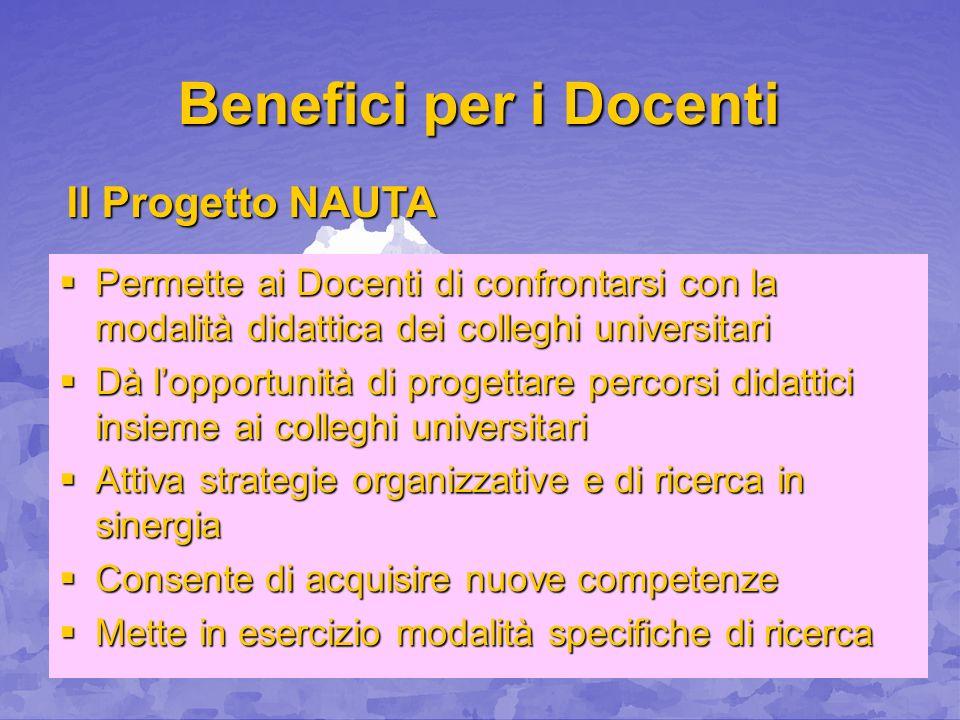 Benefici per i Docenti Permette ai Docenti di confrontarsi con la modalità didattica dei colleghi universitari Permette ai Docenti di confrontarsi con