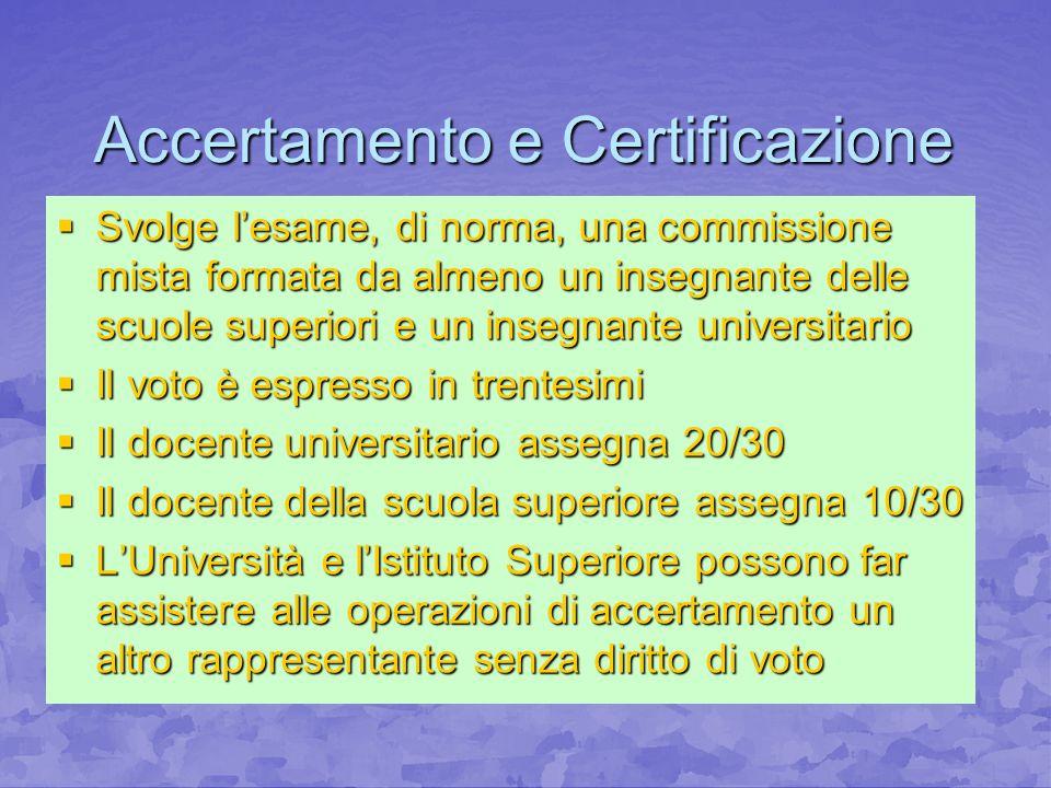 Accertamento e Certificazione Svolge lesame, di norma, una commissione mista formata da almeno un insegnante delle scuole superiori e un insegnante un