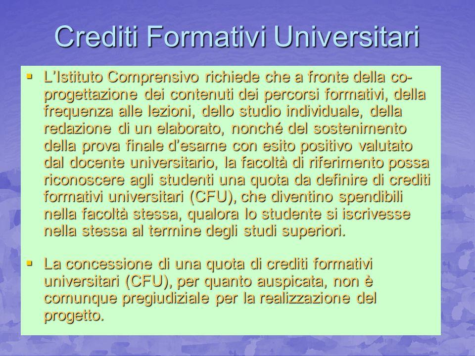 Crediti Formativi Universitari LIstituto Comprensivo richiede che a fronte della co- progettazione dei contenuti dei percorsi formativi, della frequen