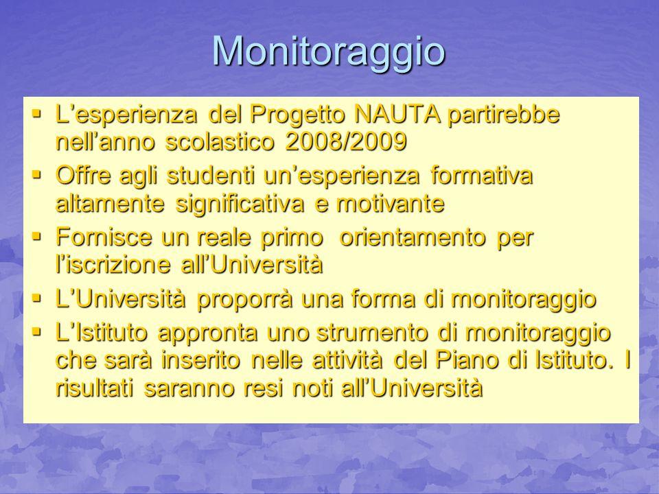 Monitoraggio Lesperienza del Progetto NAUTA partirebbe nellanno scolastico 2008/2009 Lesperienza del Progetto NAUTA partirebbe nellanno scolastico 200