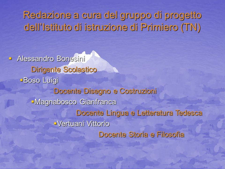 Redazione a cura del gruppo di progetto dellIstituto di istruzione di Primiero (TN) Alessandro Bonesini Alessandro Bonesini Dirigente Scolastico Boso