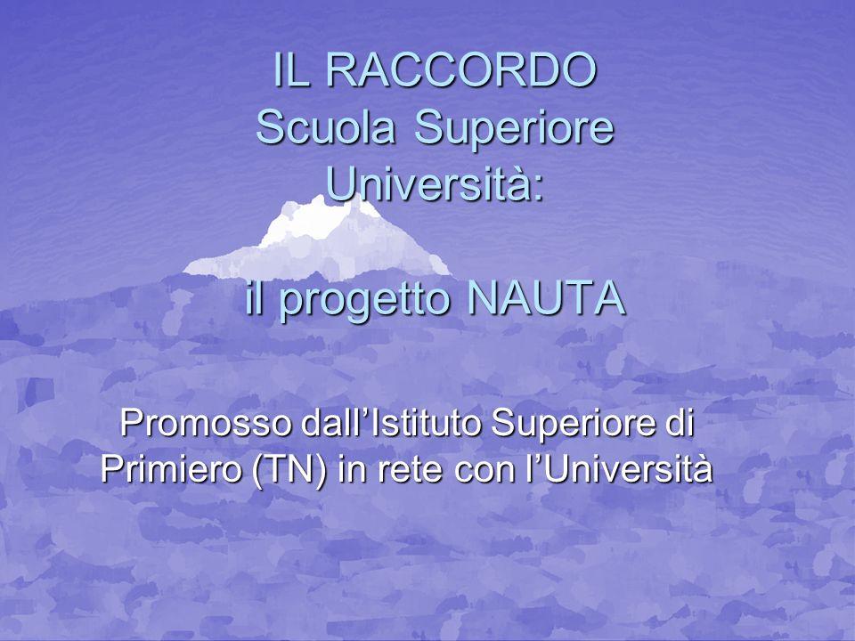 IL RACCORDO Scuola Superiore Università: il progetto NAUTA Promosso dallIstituto Superiore di Primiero (TN) in rete con lUniversità