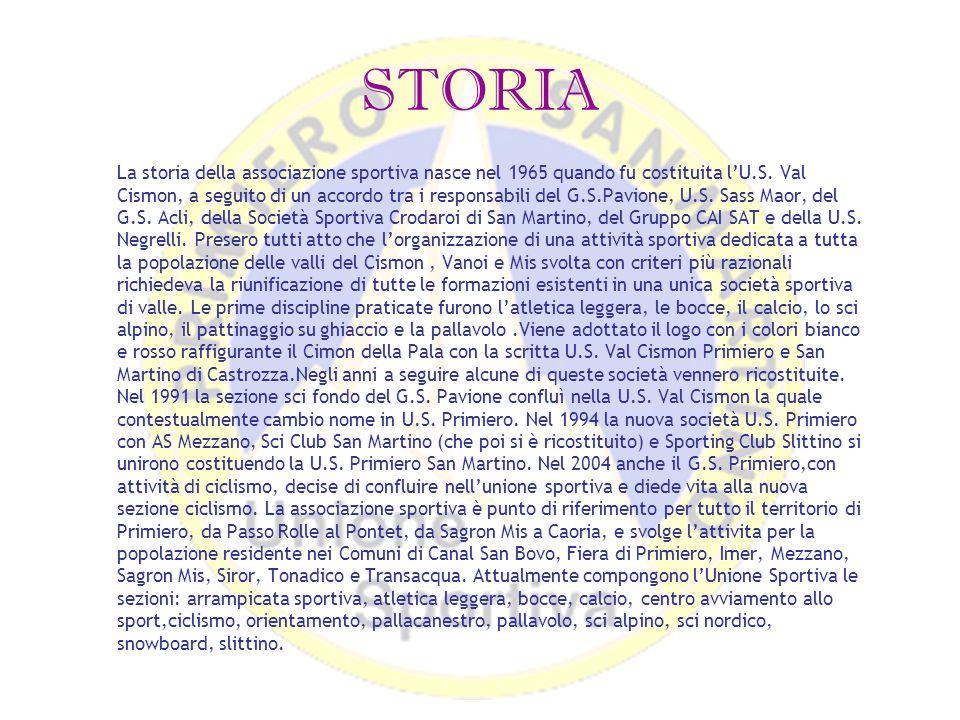 STORIA La storia della associazione sportiva nasce nel 1965 quando fu costituita lU.S. Val Cismon, a seguito di un accordo tra i responsabili del G.S.