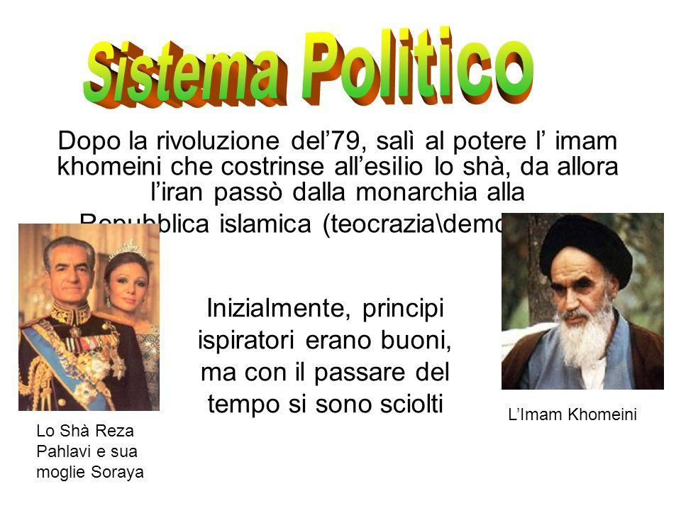 Dopo la rivoluzione del79, salì al potere l imam khomeini che costrinse allesilio lo shà, da allora liran passò dalla monarchia alla Repubblica islami