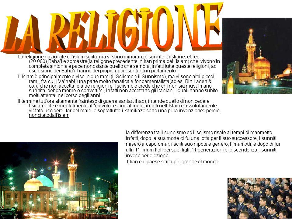 La religione nazionale è lislam sciita, ma vi sono minoranze sunnite, cristiane, ebree (20.000),Bahai e zoroastre(la religone precedente in Iran prima