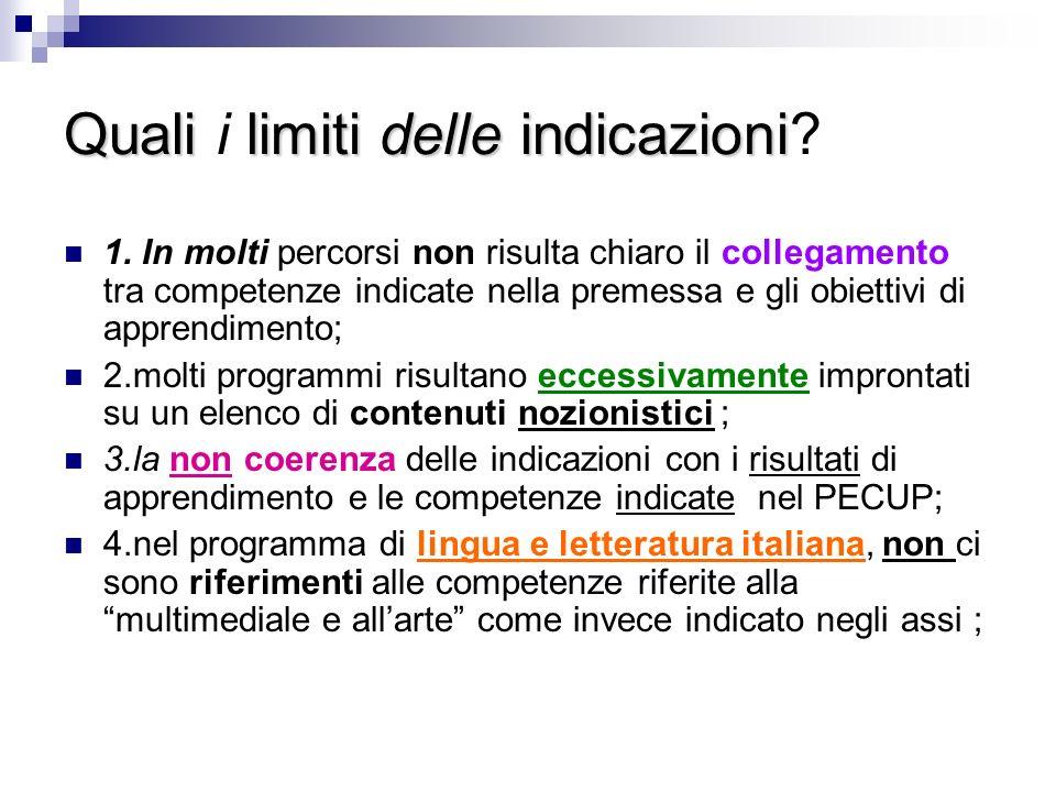 Qualilimiti delle indicazioni Quali i limiti delle indicazioni.