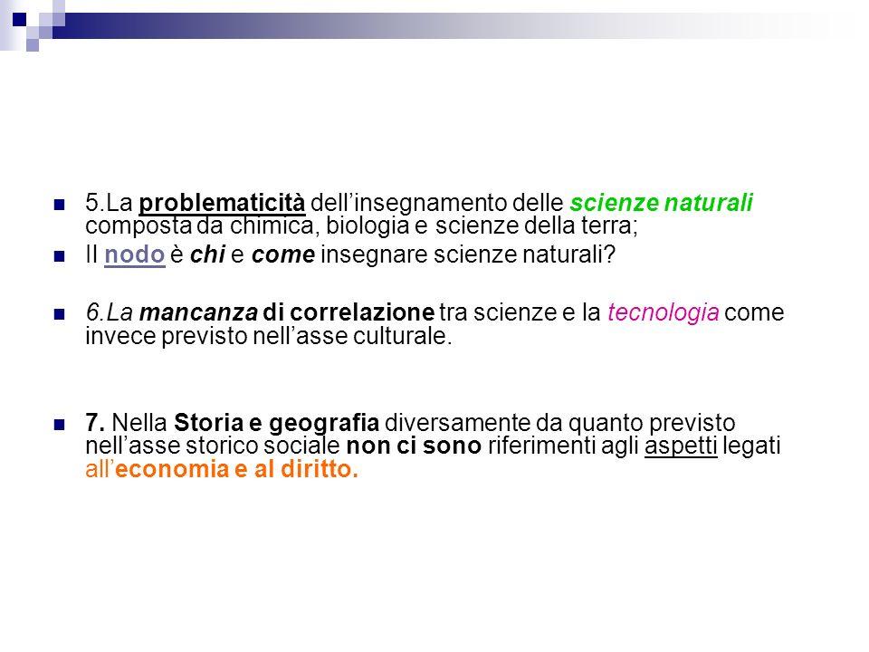 5.La problematicità dellinsegnamento delle scienze naturali composta da chimica, biologia e scienze della terra; Il nodo è chi e come insegnare scienze naturali.