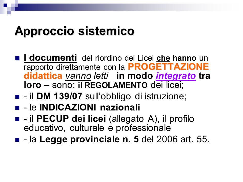 Approccio sistemico I documenti PROGETTAZIONE didattica I documenti del riordino dei Licei che hanno un rapporto direttamente con la PROGETTAZIONE didattica vanno letti in modo integrato tra loro – sono: il REGOLAMENTO dei licei; - il DM 139/07 sullobbligo di istruzione; - le INDICAZIONI nazionali - il PECUP dei licei (allegato A), il profilo educativo, culturale e professionale - la Legge provinciale n.